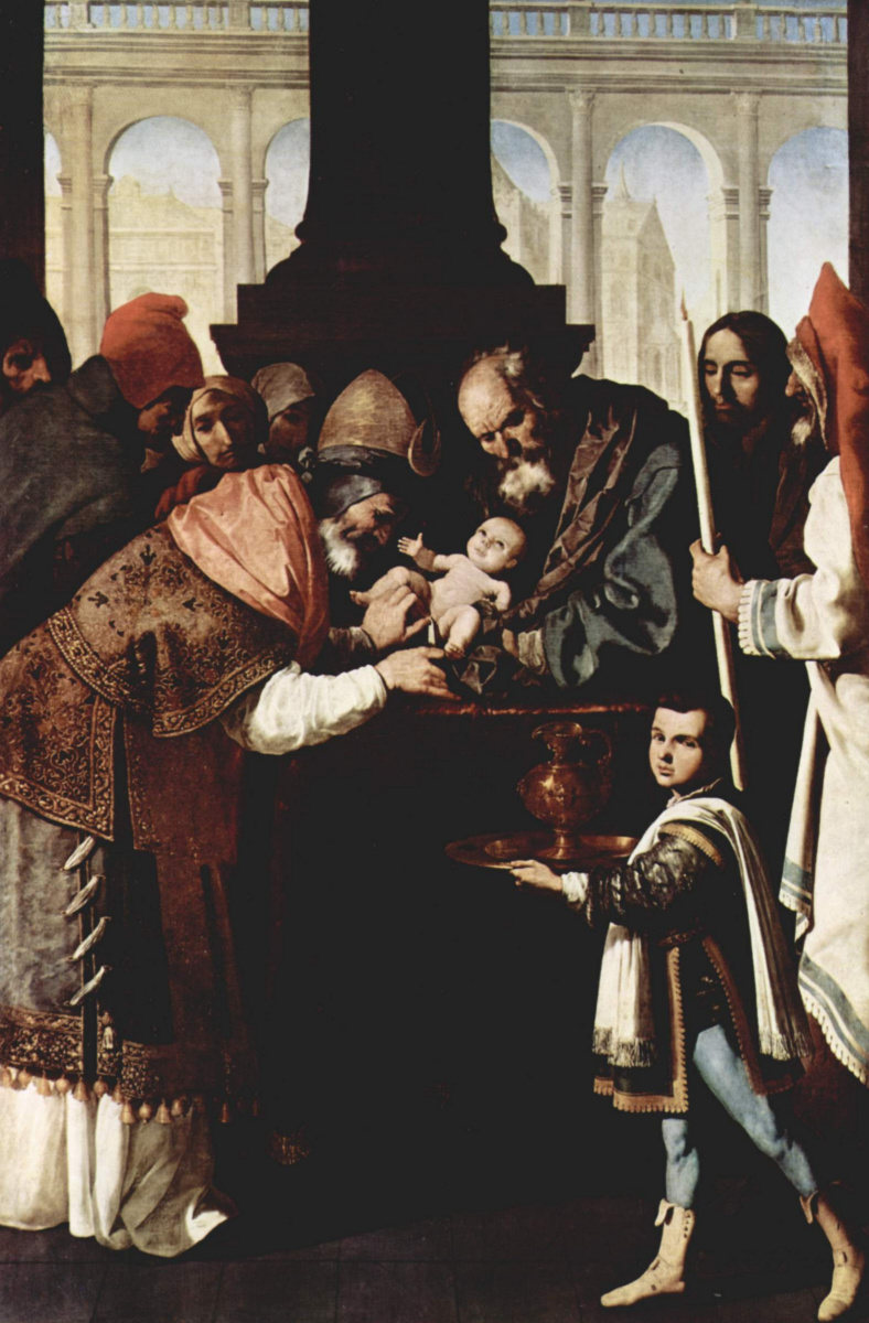"Francisco de Zurbaran. The altar of the Carthusian monastery of ""Nuestra Señora de La Defension"" in Jerez de La Frontera. A scene of circumcision"