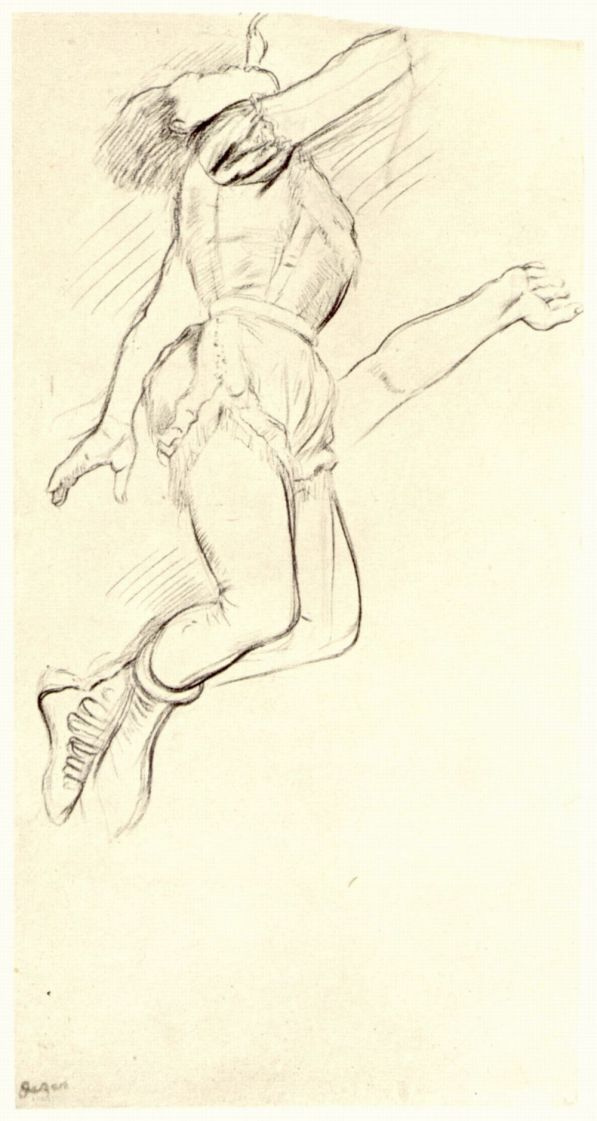 Edgar Degas. Miss La La, clinging to the trapeze with his teeth. Sketch