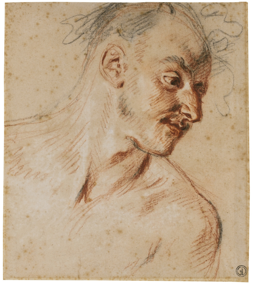 Antoine Watteau. A sketch of the head of the Faun