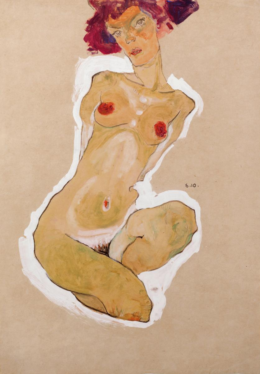 Egon Schiele. Nude squat