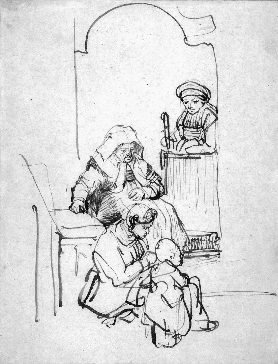 Рембрандт Ван Рейн. Женщина и ребенок