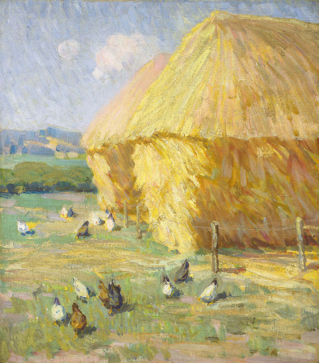 Helen Galloway McNicoll. Chickens and haystack