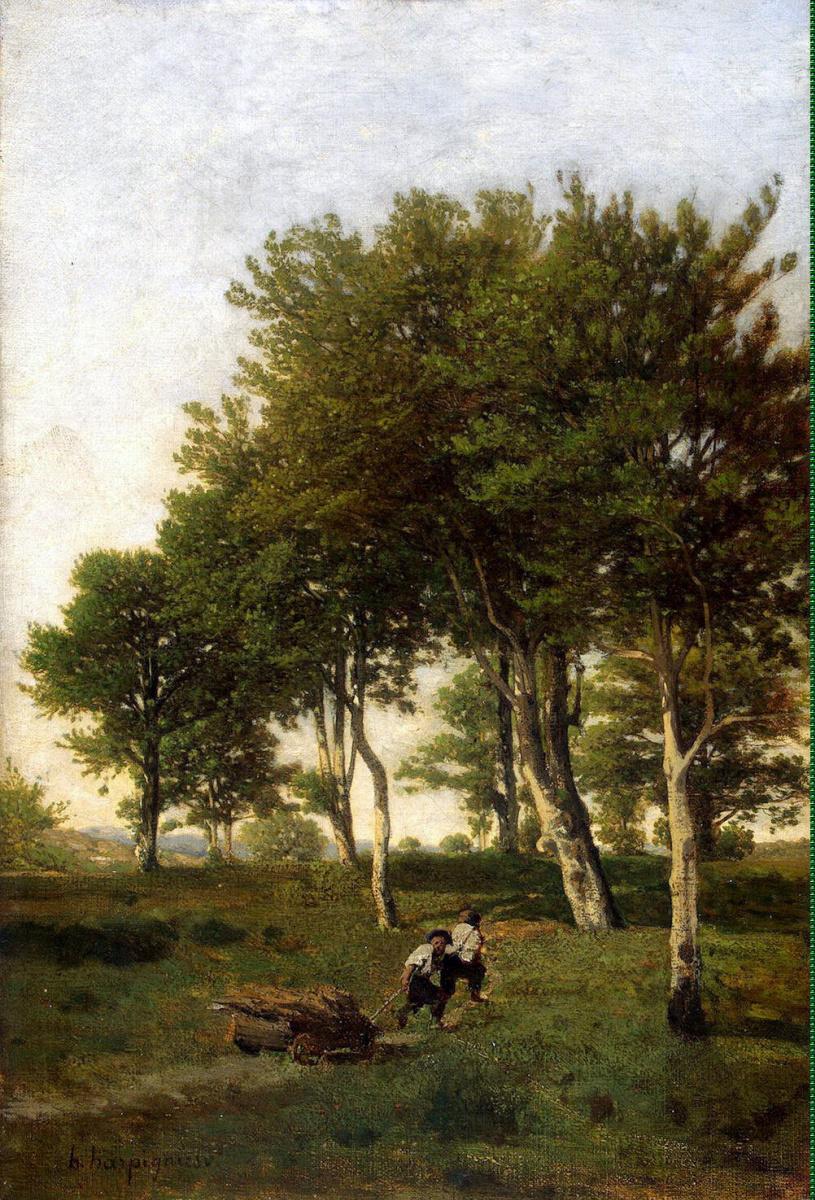 Анри Арпиньи. Пейзаж с двумя мальчиками, везущими хворост