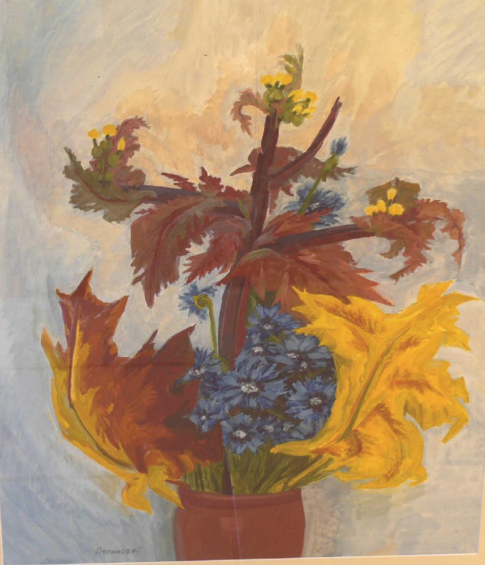 "Galina Vasilyevna Atlanova. ""The bouquet with chrysanthemums"""