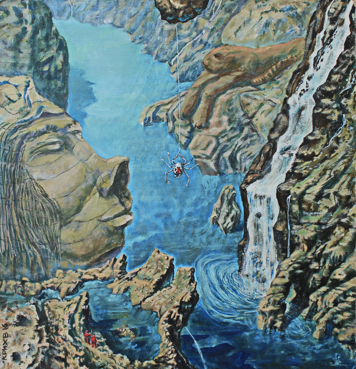 Leo Mikhailovich Karnaukhov. There. Shamans Blue waters oil on canvas 86х91 2016 diploma ART Week in China april 2017