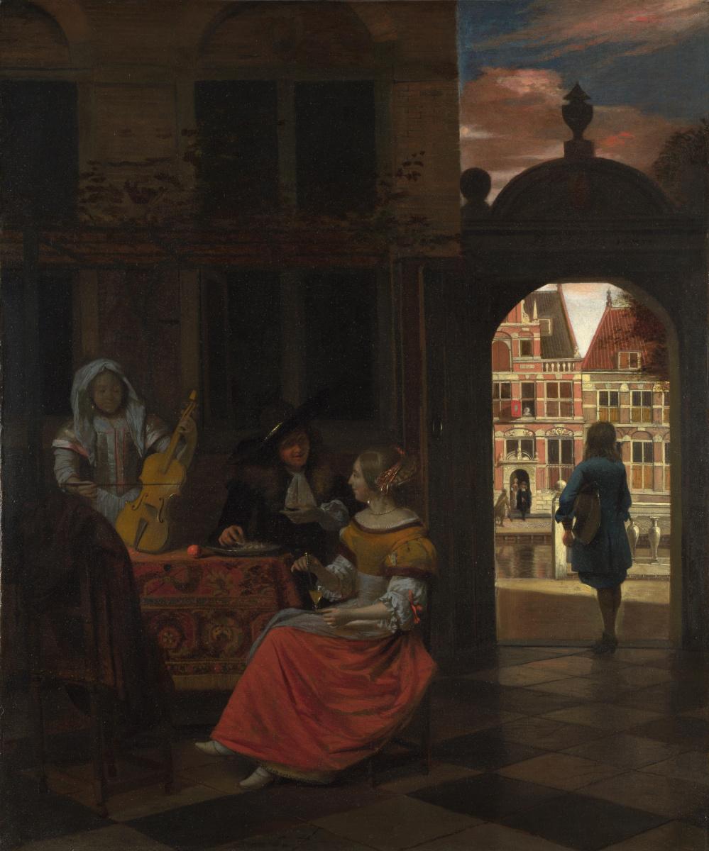 Pieter de Hooch. Musical evening in the courtyard