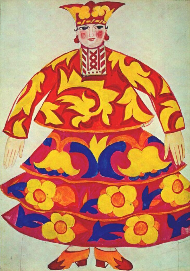 """Natalia Goncharova. Costume design for the Opera-ballet """"the Golden Cockerel"""" by N.. Rimsky-Korsakov"""