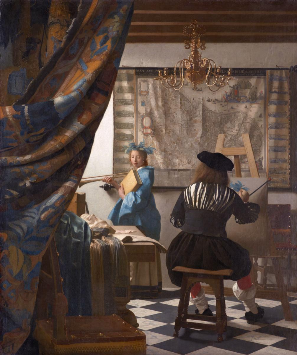 Jan Vermeer. Allegory of Painting or Painter in His Studio, the artist's workshop