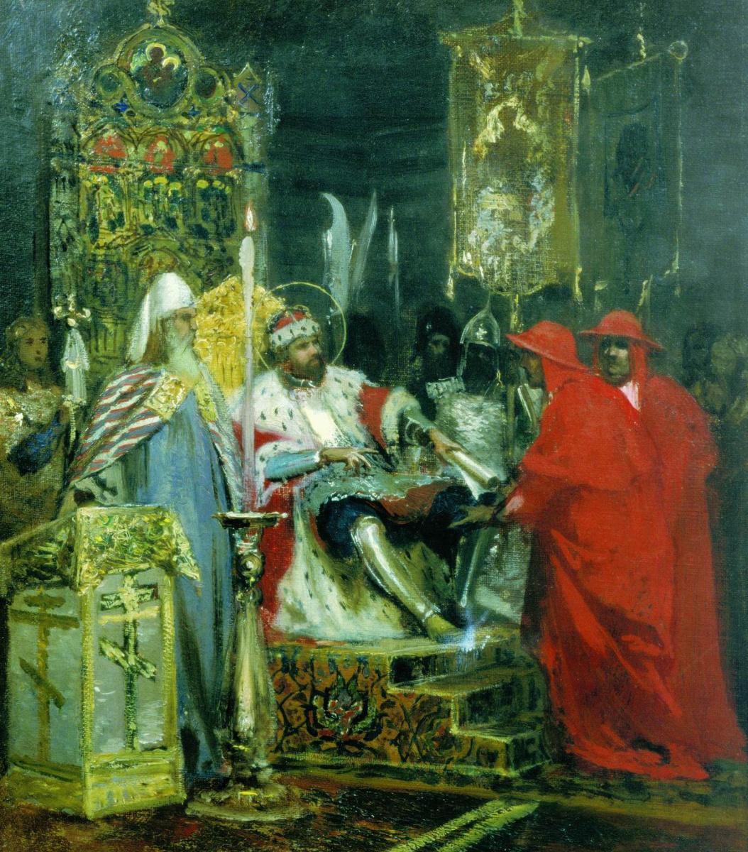 Генрих Ипполитович Семирадский. Alexander Nevsky accept papal legates