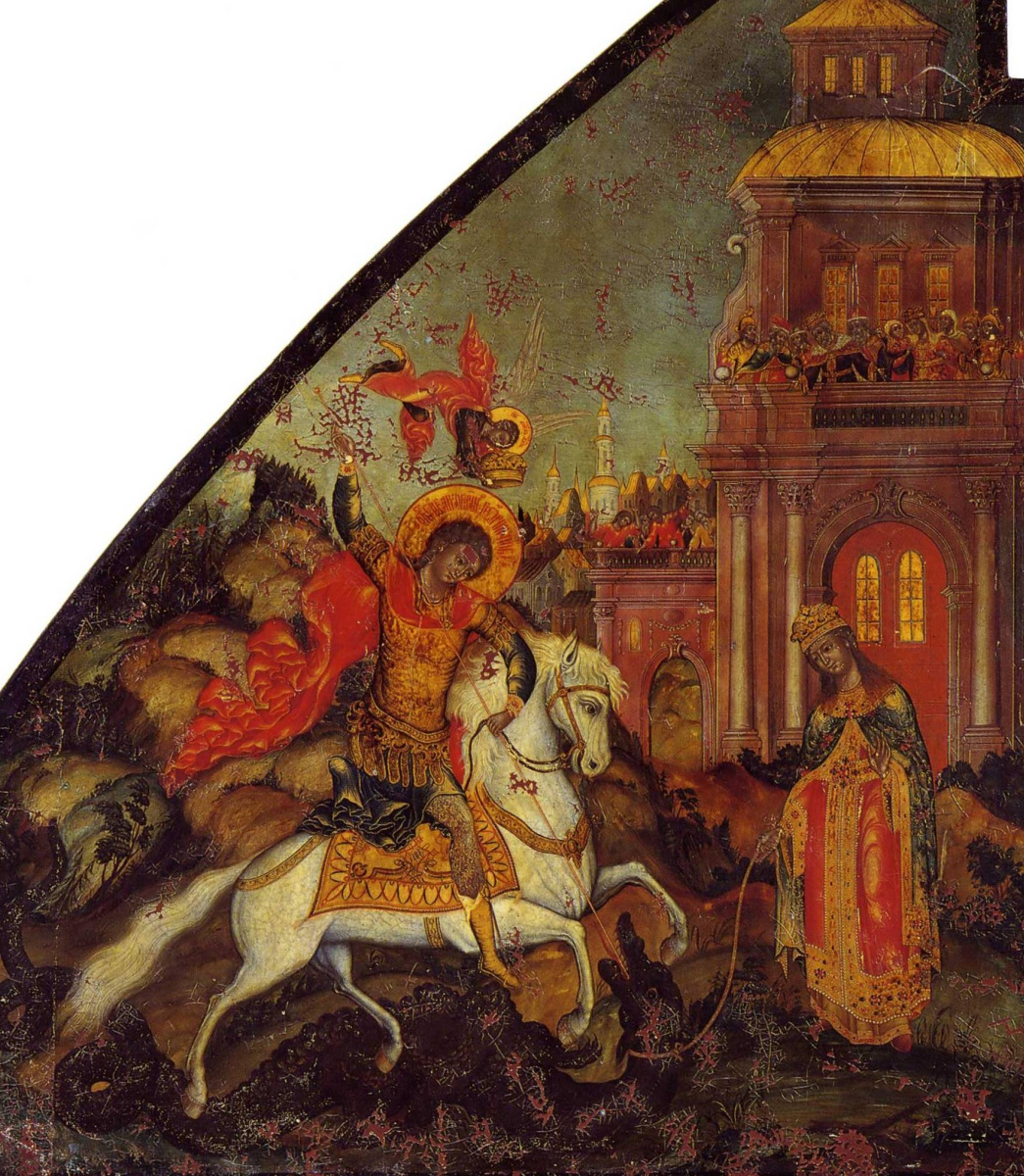 Icon Painting. Miracle of George and the Dragon (Nevyansk, workshop Bogatyrevs)