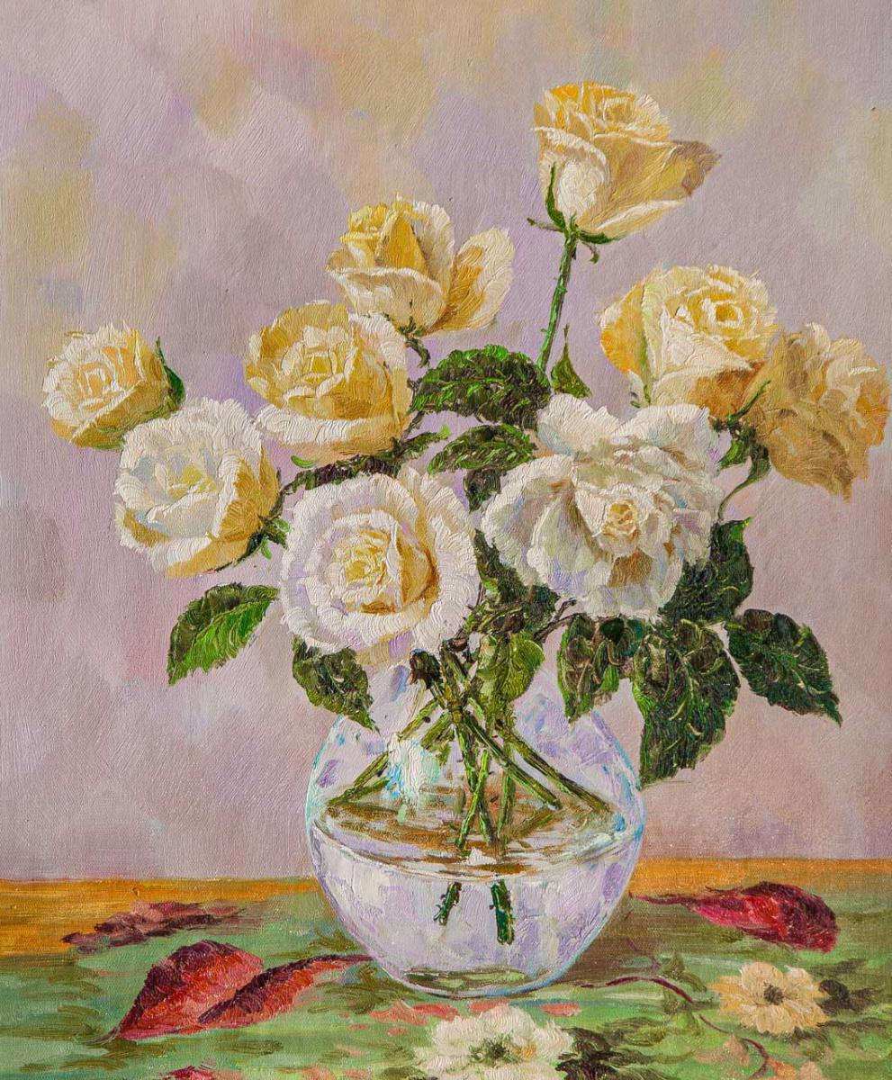 Andrzej Vlodarczyk. Букет чайных роз в стеклянной вазе