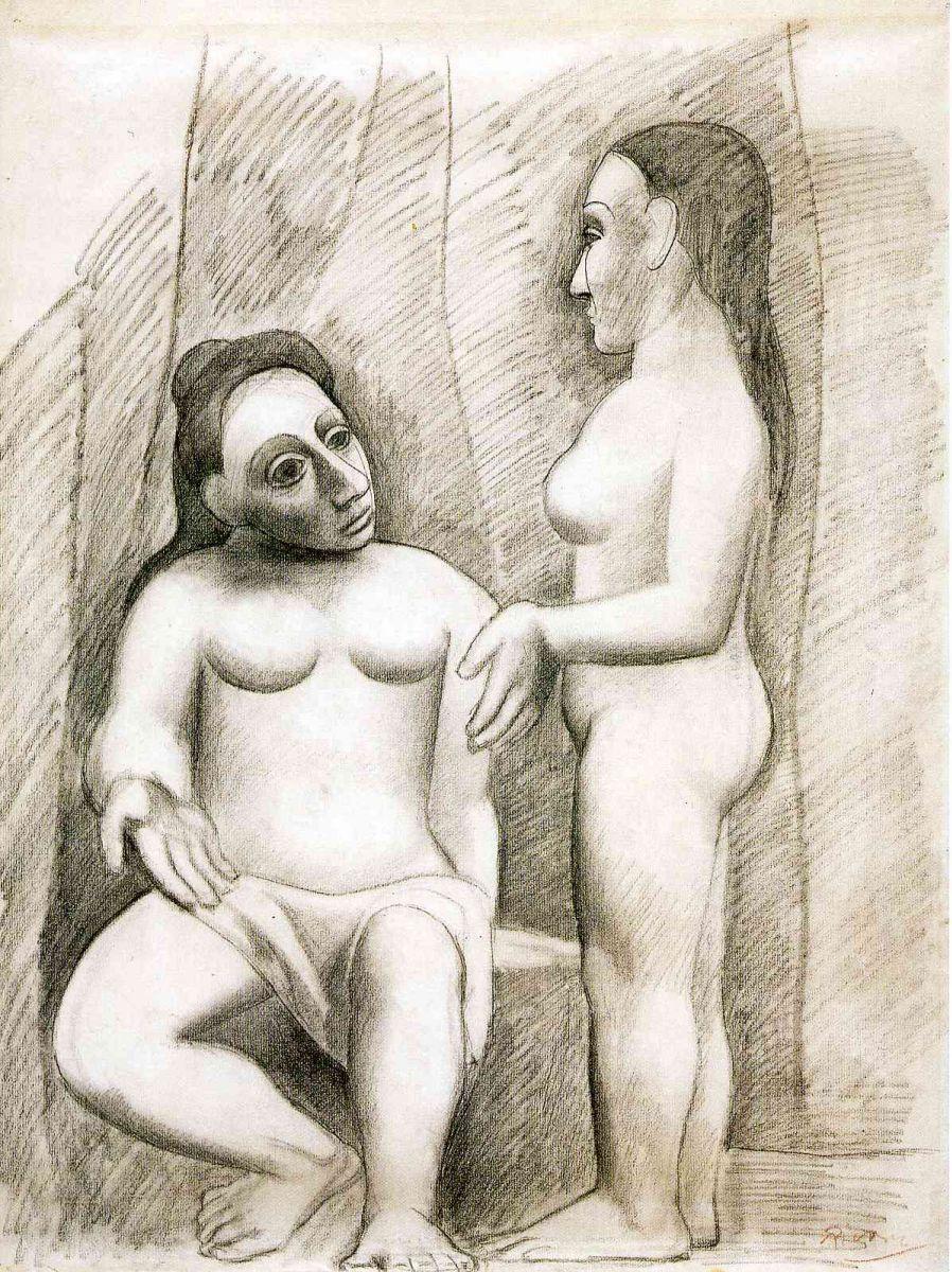 Пабло Пикассо. Стоящая и сидящая обнаженные