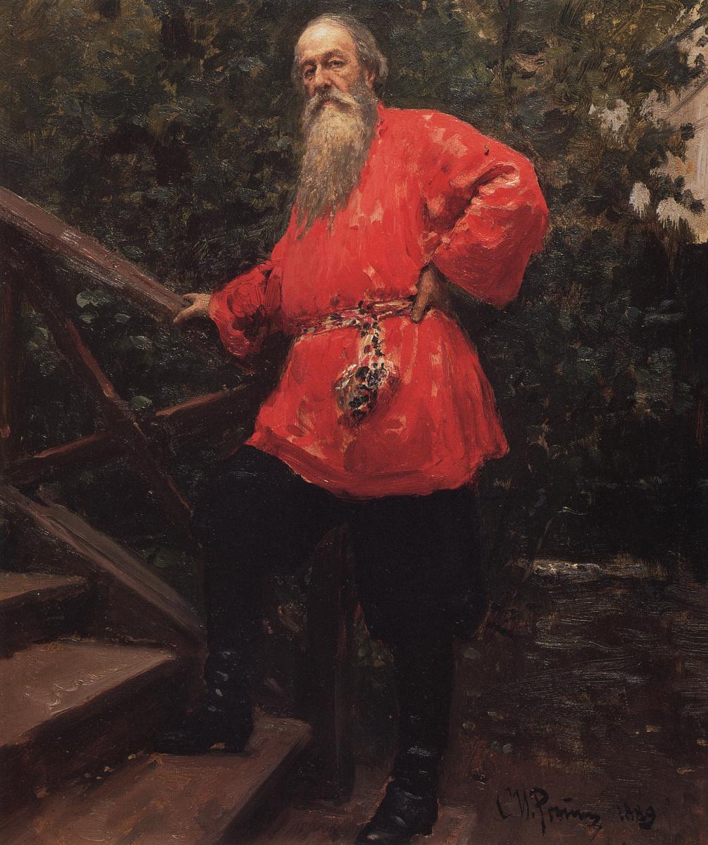 Илья Ефимович Репин. В. В. Стасов на даче в деревне Старожиловка близ Парголова.