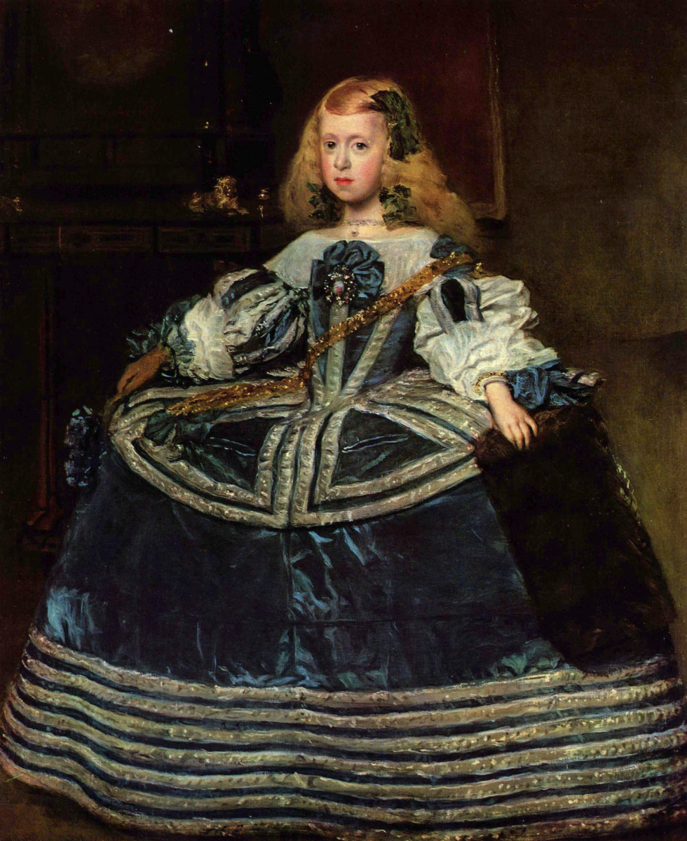 Diego Velazquez. Portrait of the Infanta Margarita in a blue dress