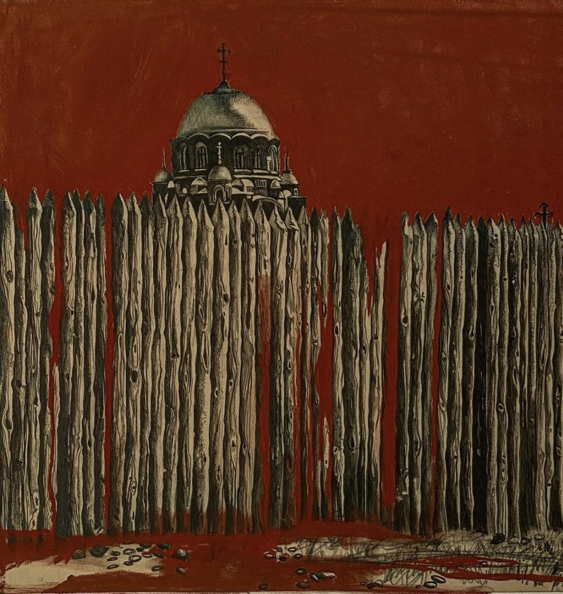 Триптих Красная пастель.