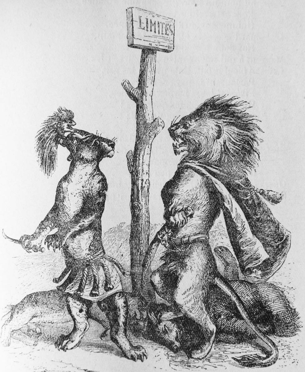 Жан Иньяс Изидор (Жерар) Гранвиль. Лев и Леопард. Иллюстрации к басням Флориана