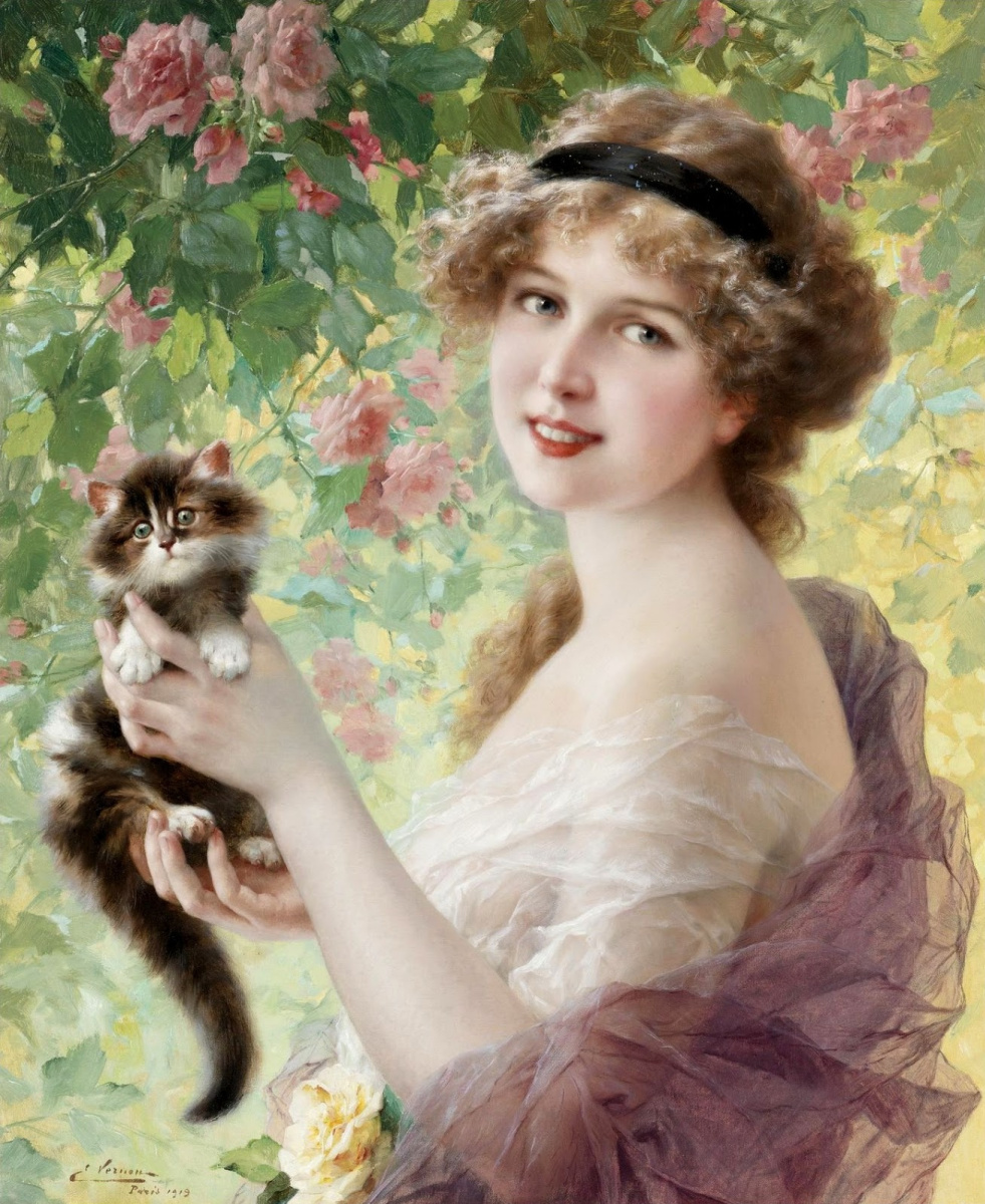 Emile Vernon. Her little kitten. 1919