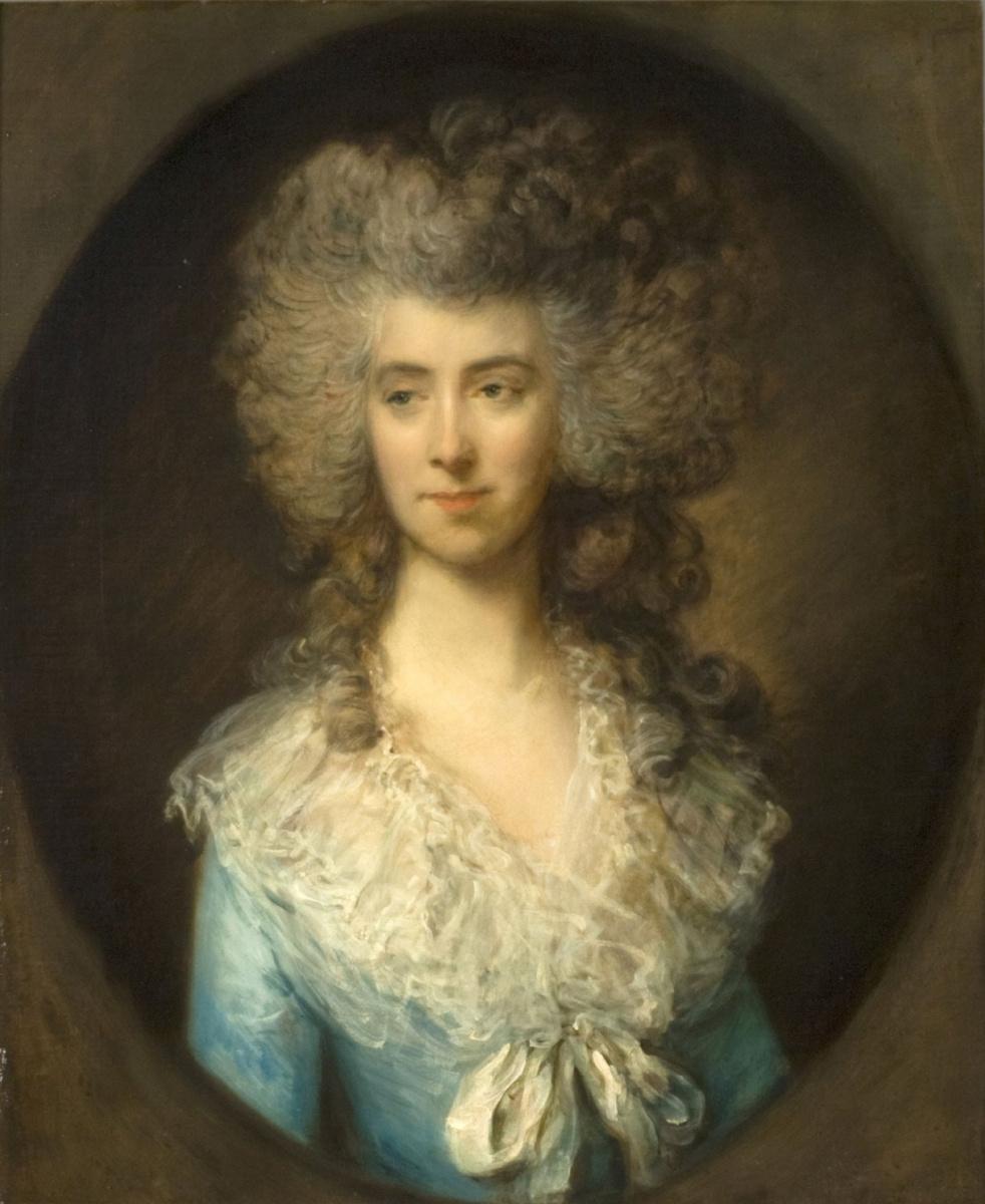 Thomas Gainsborough. Portrait of a lady in a blue dress
