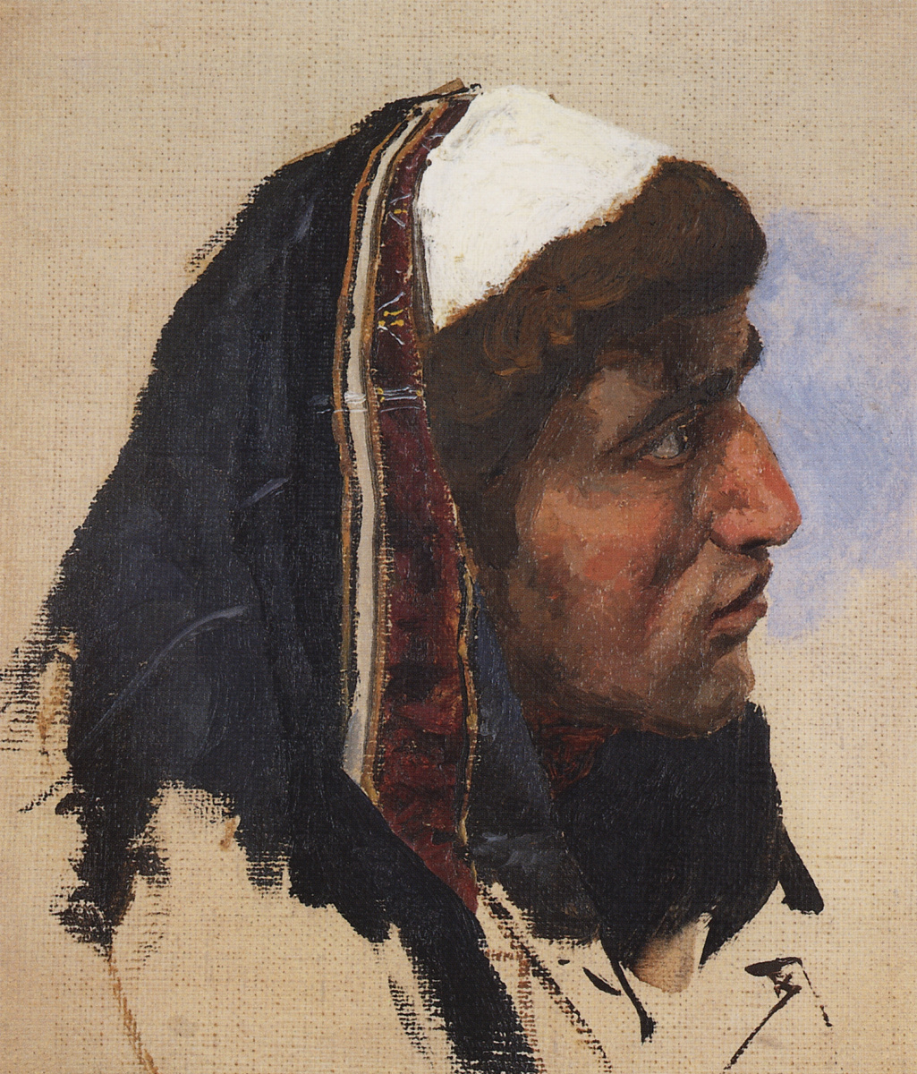 Vasily Polenov. The head of a young man in a blue bedspread