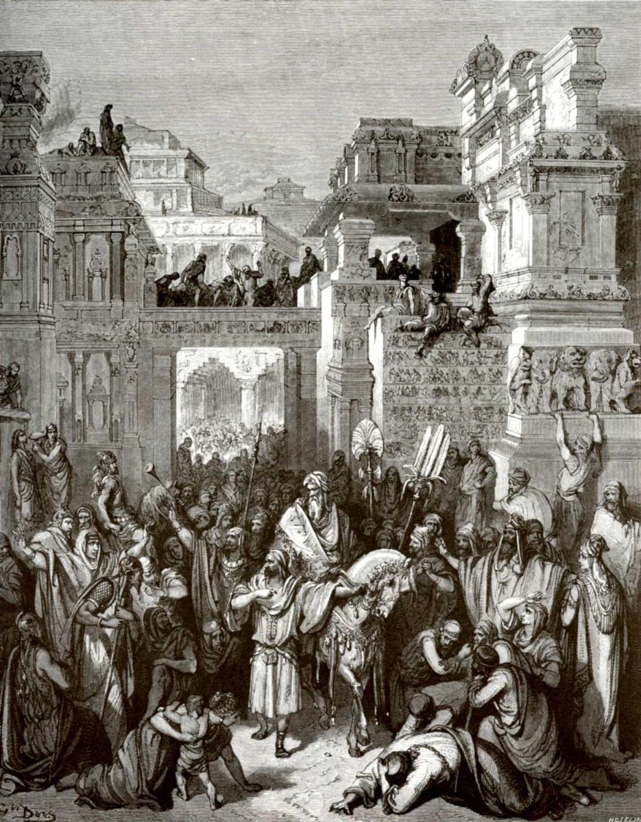 Поль Гюстав Доре. Иллюстрация к Библии: торжество Мардохея