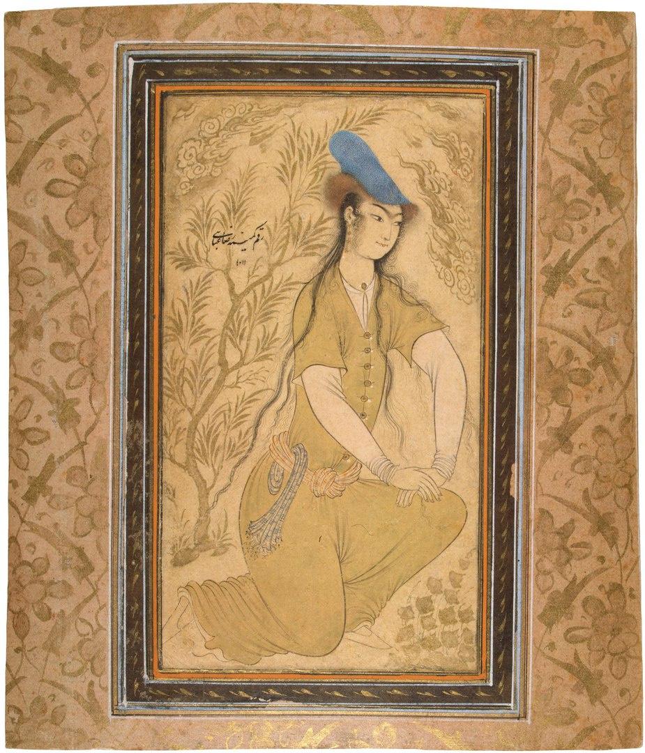 Riza-yi-Abbasi. Girl in a fur hat.
