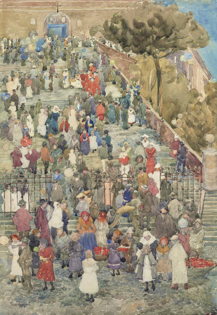 Морис Брэзил Прендергаст. Лестница Санта-Мария-ин-Арачели в Риме