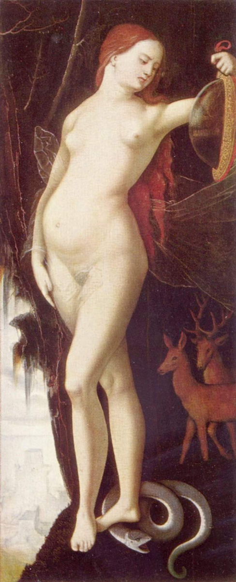 Ханс Бальдунг. Женщина с зеркалом и змеёй
