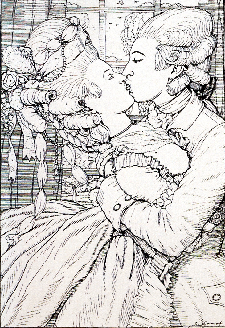 "Konstantin Somov. Kiss. Illustration for ""book of the Marquise"""