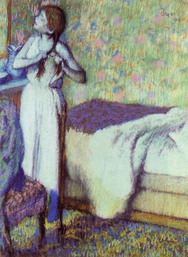 Эдгар Дега. Молодая девушка, заплетающая волосы