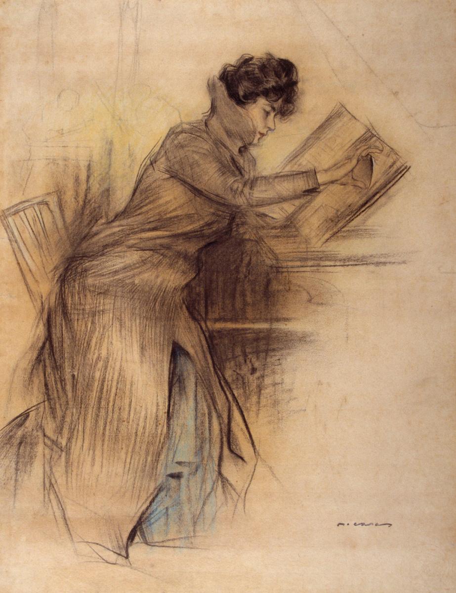 Рамон Касас Карбо. Читающая женщина за столом