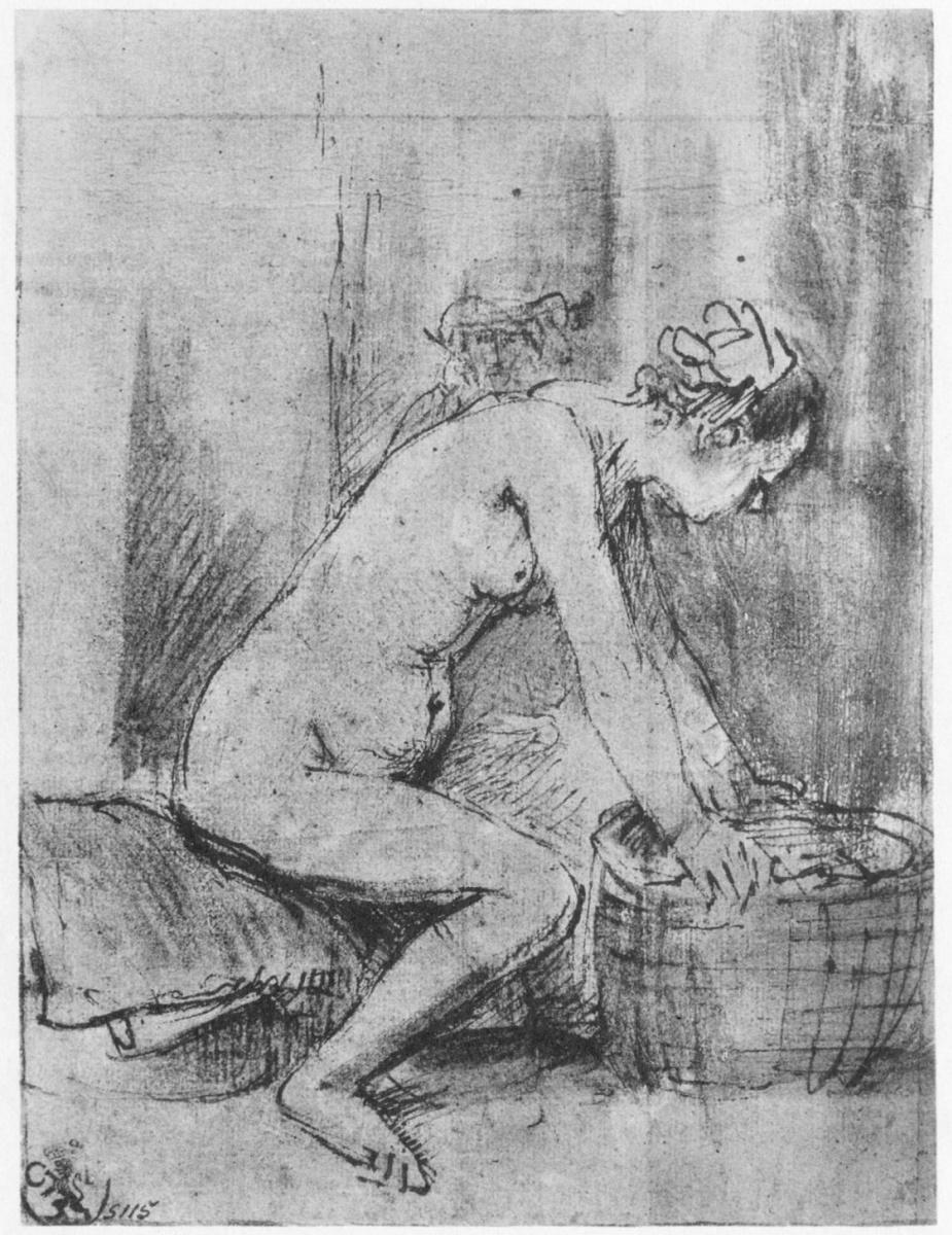 Рембрандт Ван Рейн. Обнаженная натурщица, в профиль, опирающаяся руками на край корзины; на заднем плане – мужская голова