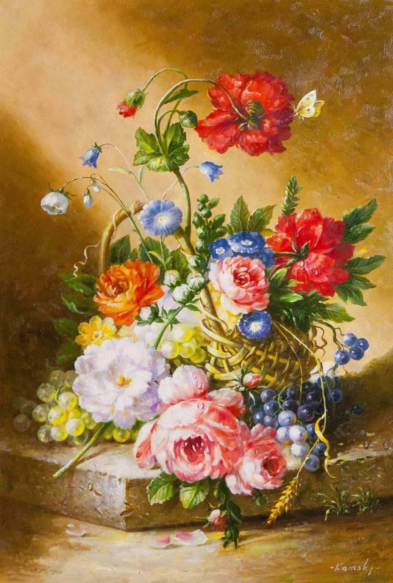 Saveliy Kamsky. Basket with flowers and grapes