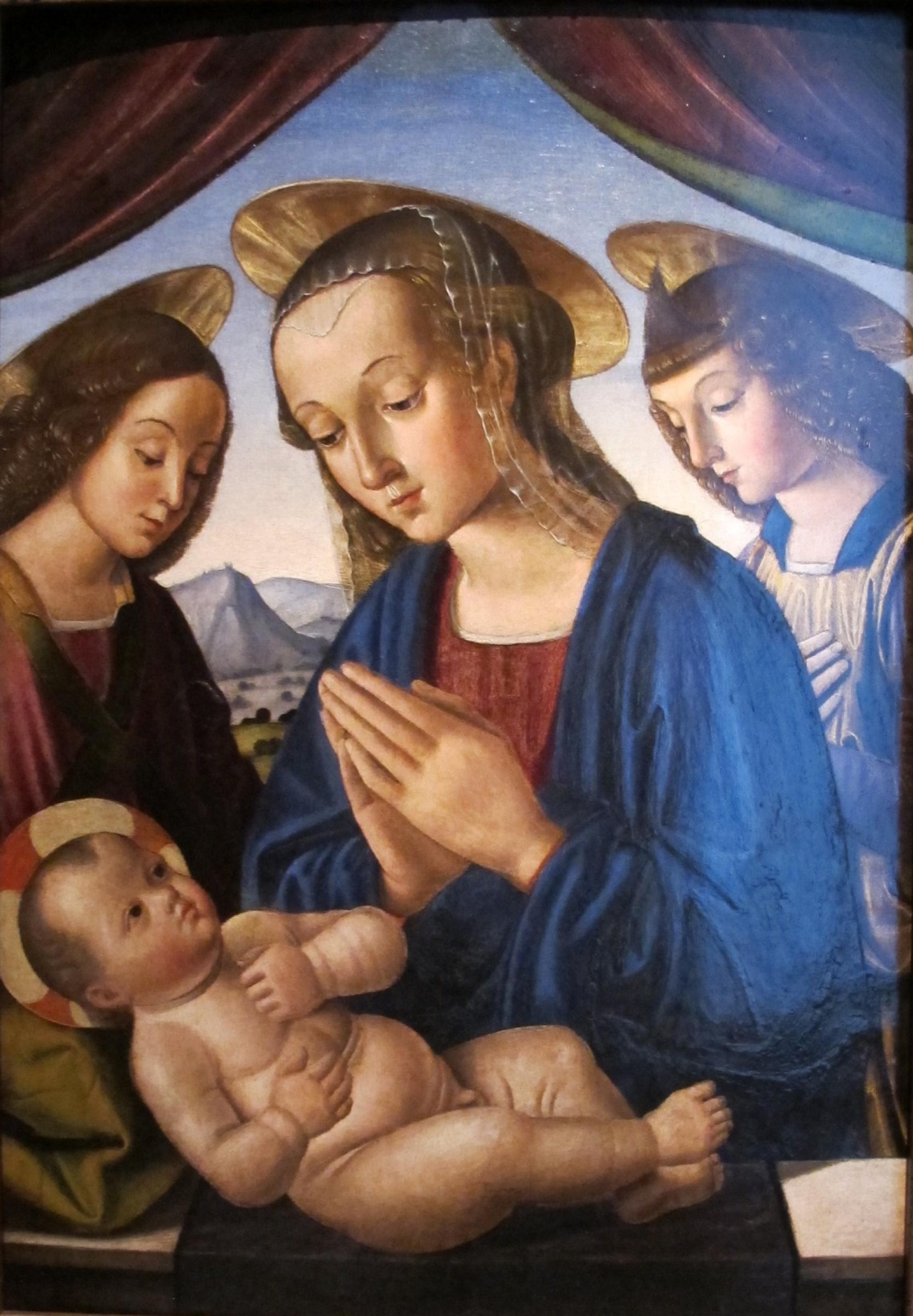 Джованни Санти. Мадонна с младенцем и двумя ангелами
