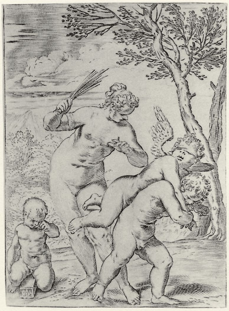 Агостино Карраччи. Венера, наказывающая Эрота