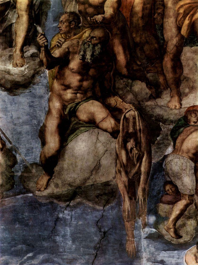 Микеланджело Буонарроти. Страшный суд, фреска алтарной стены Сикстинской капеллы, деталь: Мученик с человеческой кожей