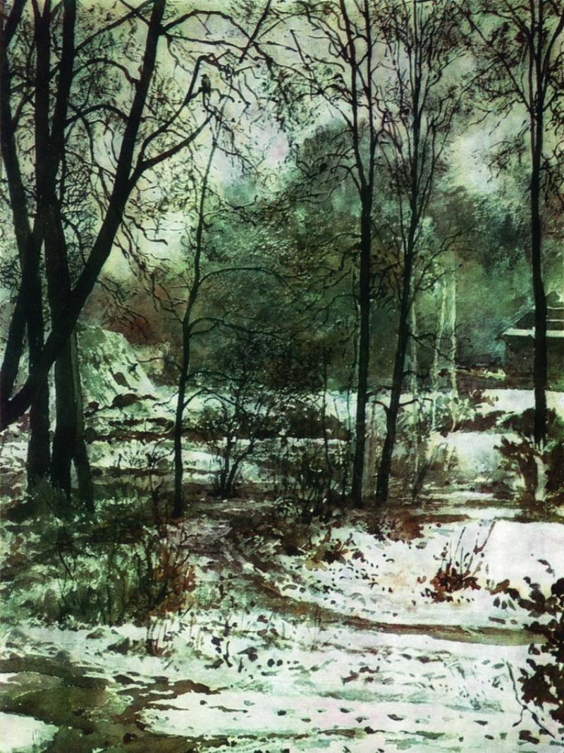 Elena Dmitrievna Polenova. Winter landscape. Forest edge