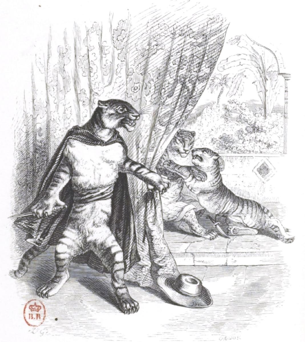 """Жан Иньяс Изидор (Жерар) Гранвиль. Прелюбодеяние. """"Сцены общественной и частной жизни животных"""""""
