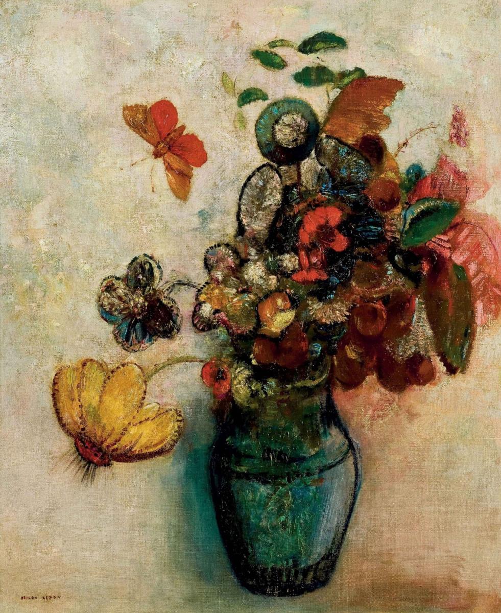 Одилон Редон. Букет цветов и бабочка