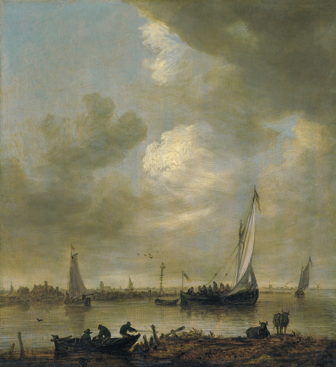 Jan van Goyen. The mouth of the river with small vessels and fishermen