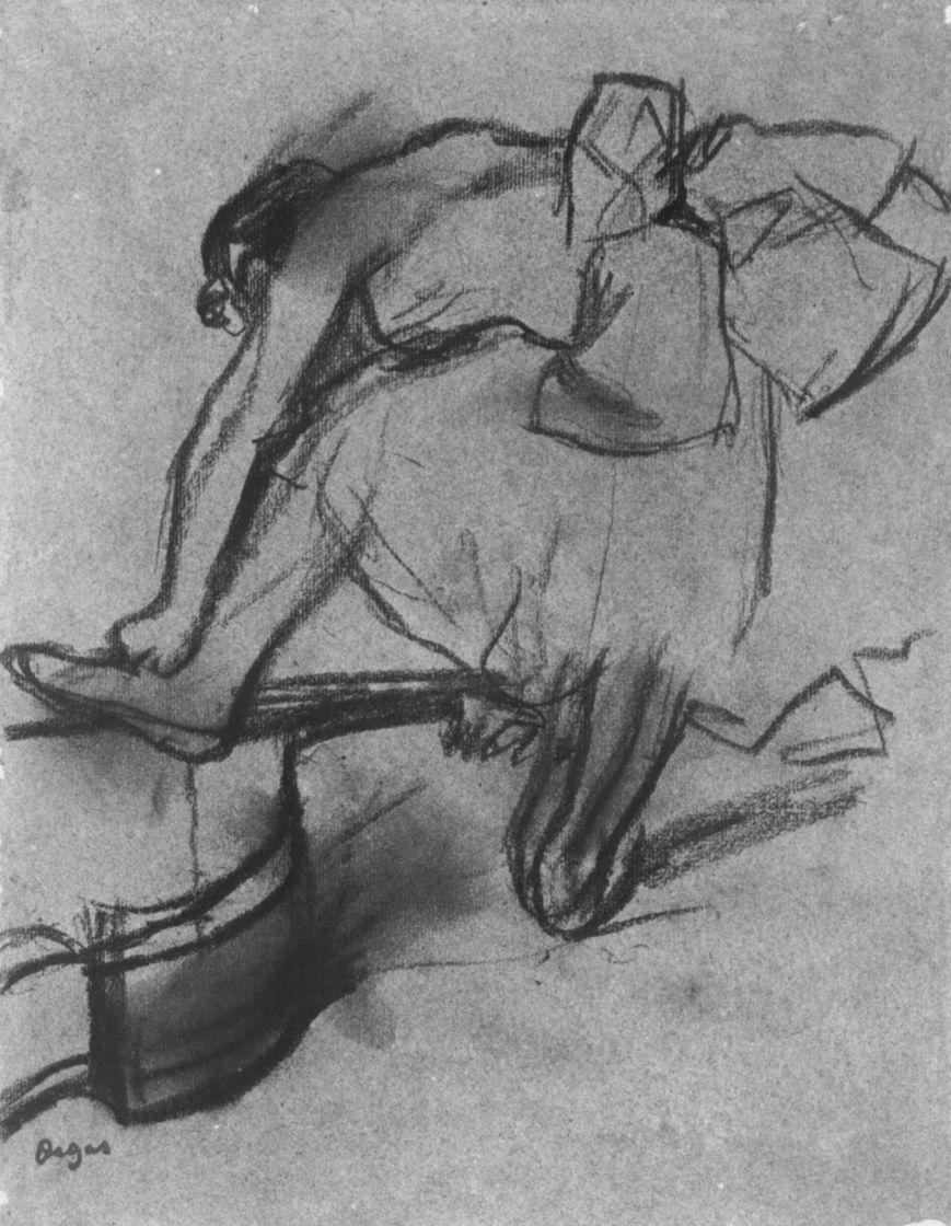 Эдгар Дега. Балерина, опирающаяся на контрабас