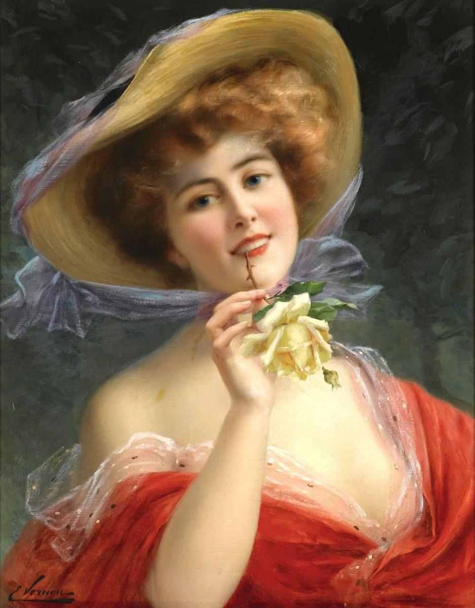 Эмиль Вернон. Девушка с желтой розой.