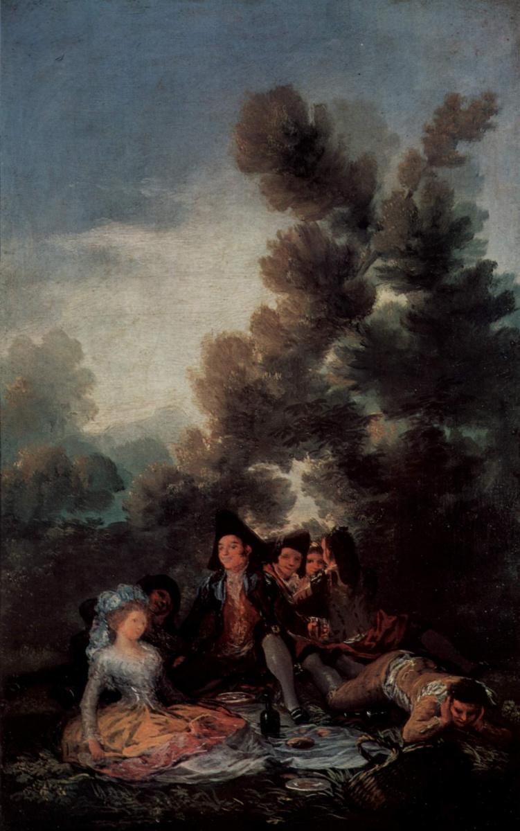 Франсиско Гойя. Эскизы гобеленов для королевских дворцов Прадо и Эскориал. Полдник на лоне природы