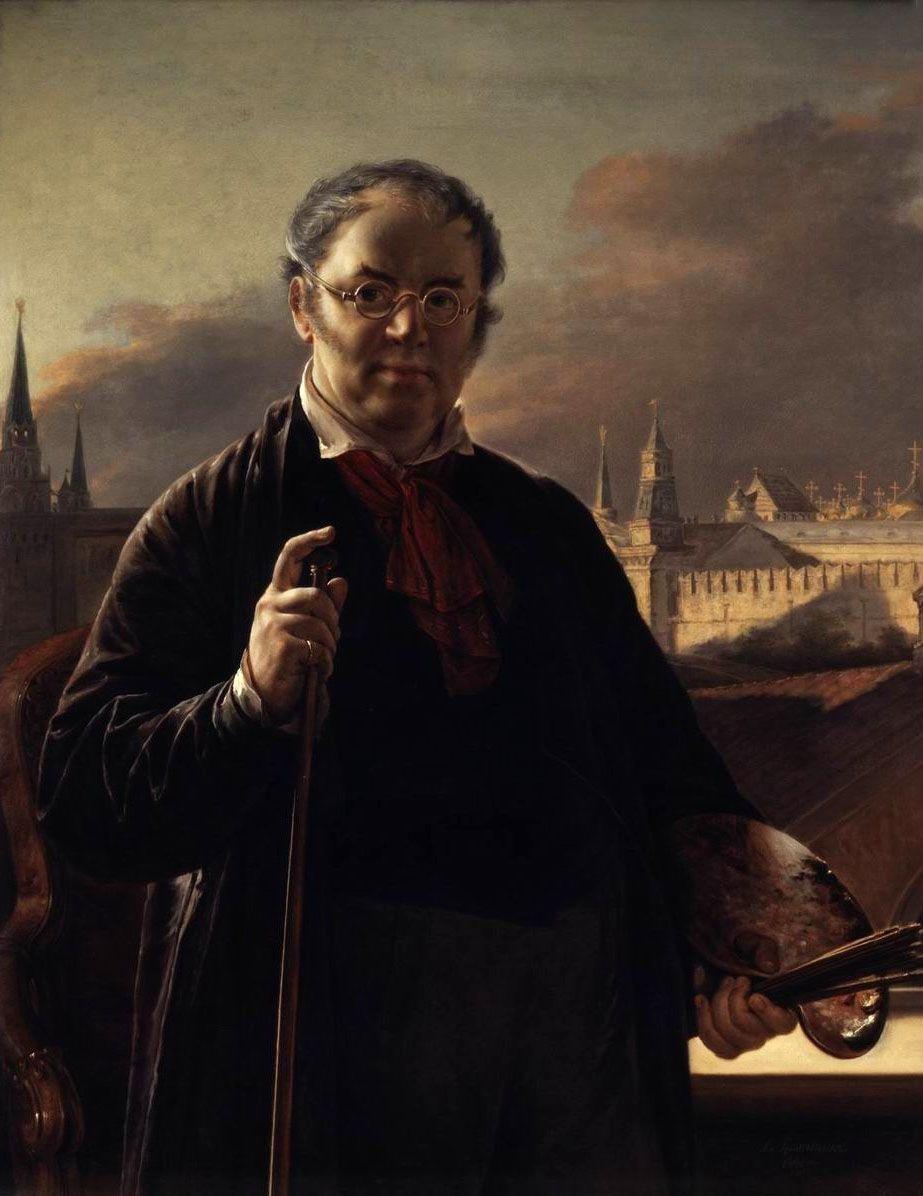 Василий Андреевич Тропинин. Автопортрет на фоне окна, с видом на Кремль