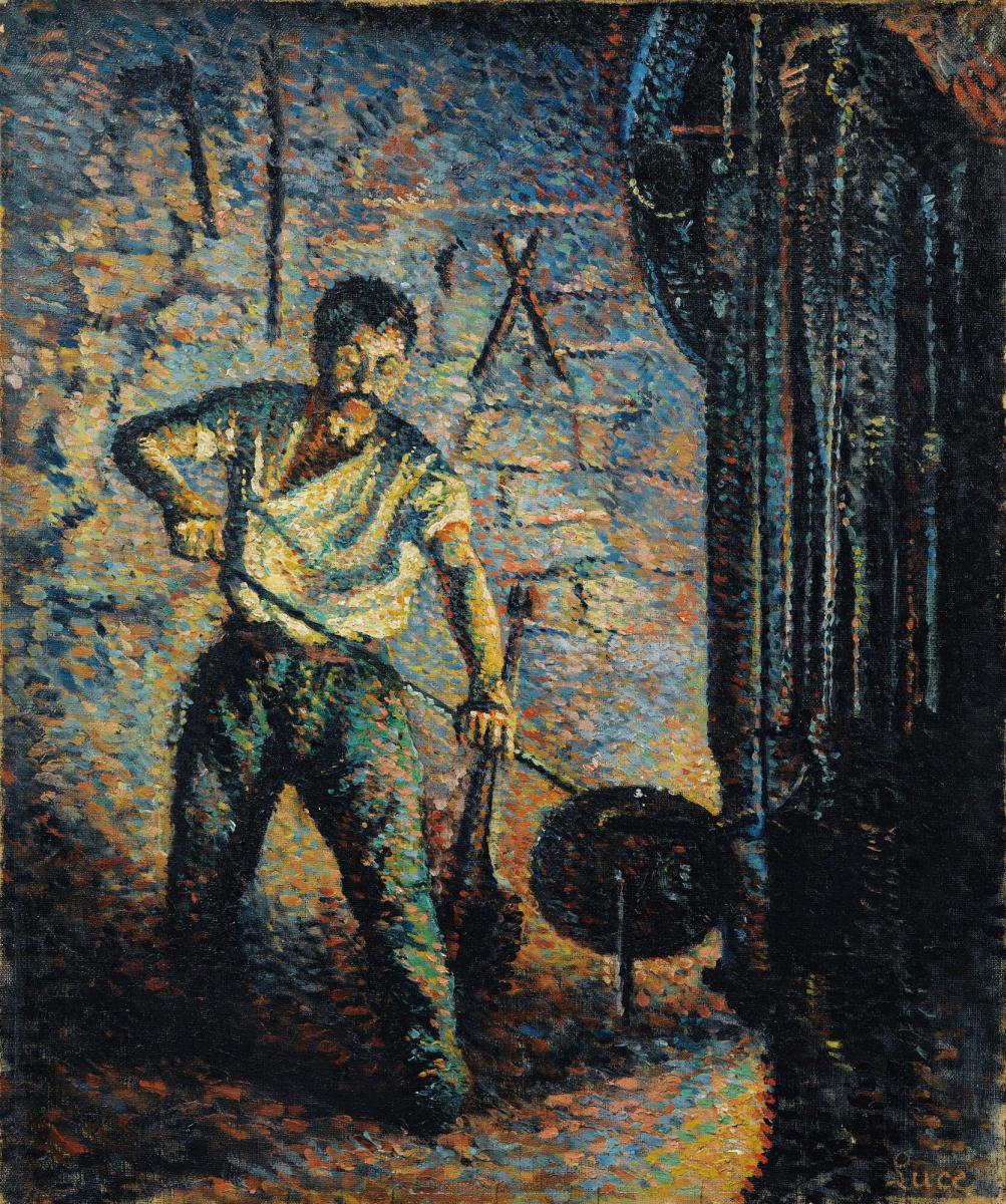 Maximilian Luce. Glassblower at work