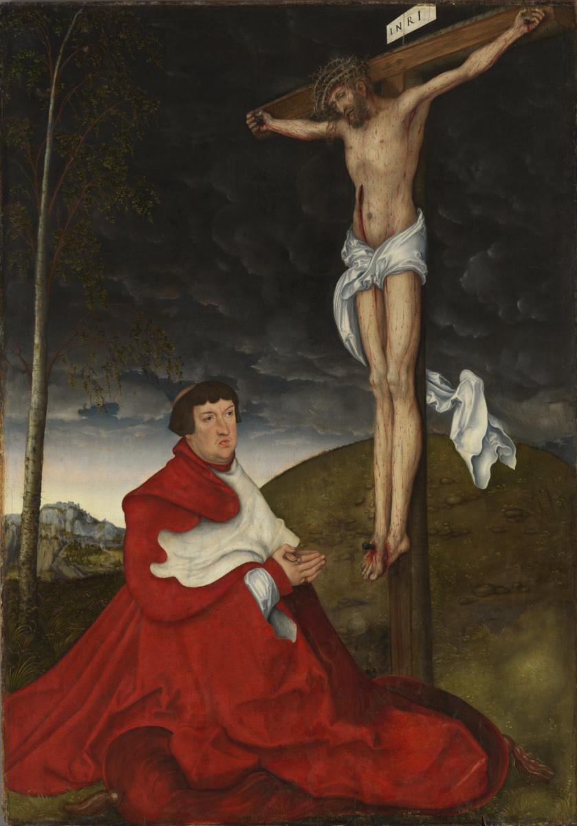 Лукас Кранах Старший. Распятие с кардиналом Альбрехтом фон Брандербургским