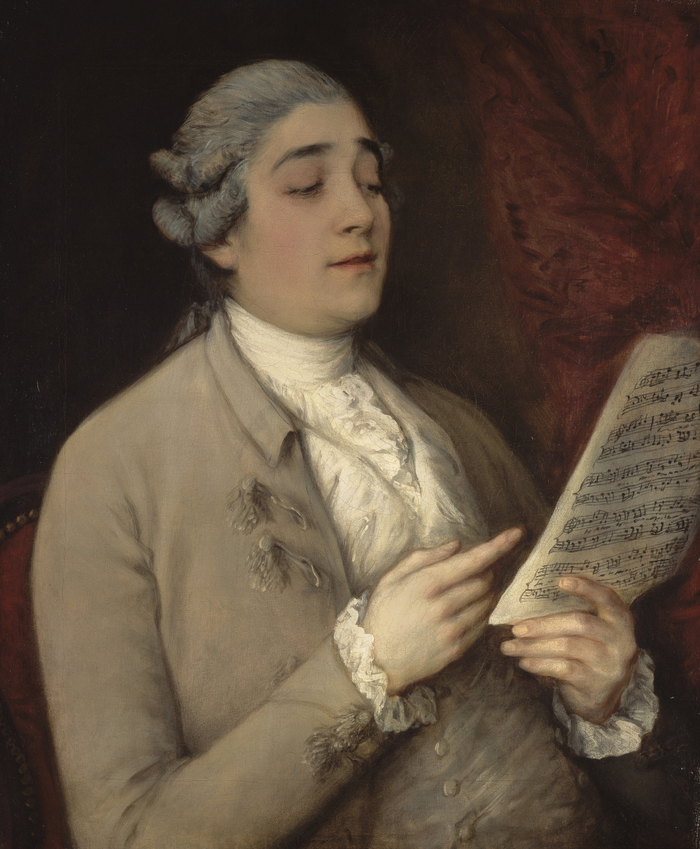 Thomas Gainsborough. Portrait of Giusto Ferdinando of Tenducci, rehearsing his party