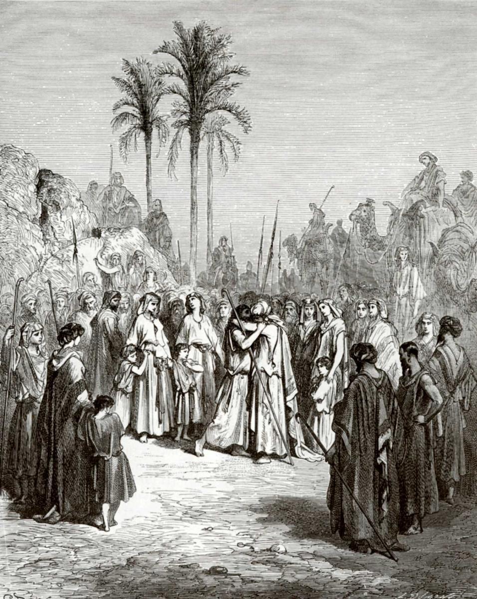Поль Гюстав Доре. Иллюстрации к Библии: примирение Иакова с Исавом