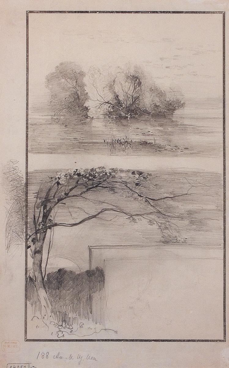 Алексей Кондратьевич Саврасов. Деревья у воды. Ветви деревьев. Набросок