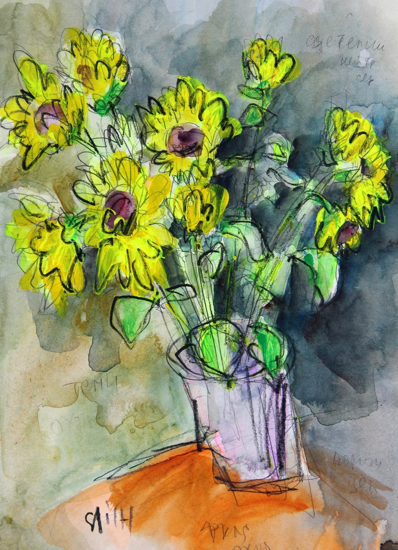 Ilya Pavlovich Spichenkov. Decorative sunflowers