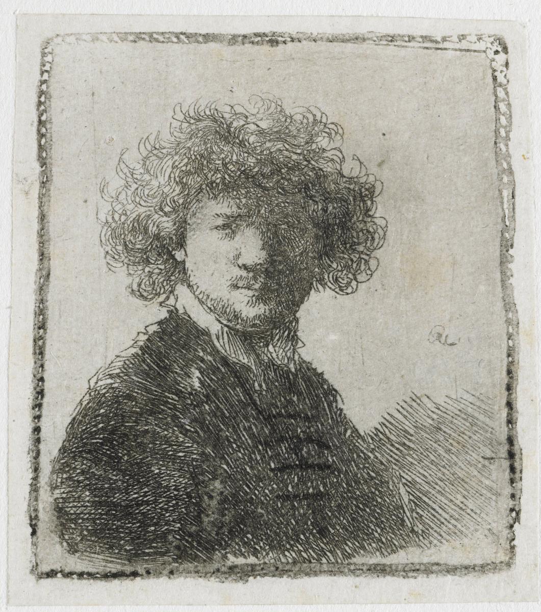 Рембрандт Харменс ван Рейн. Автопортрет с вьющимися волосами и белым воротником